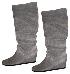 Aerosoles Leather Wedge Silver Boots