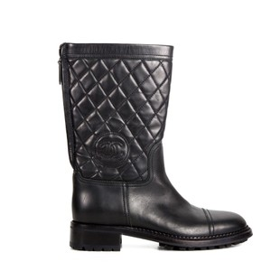 Chanel Quilted Leather Cc Logo Black Boots