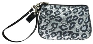 Coach Mini Wallet Wristlet in Black, grey, silver