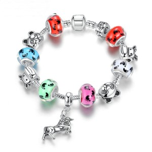 European Silver Horse Beaded Charm Bracelet Free Shipping