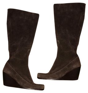 Aerosoles Brown Leather Suede Wedge Boots