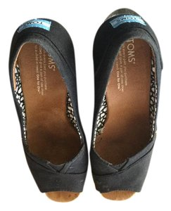 TOMS Peep Toe Black Wedges