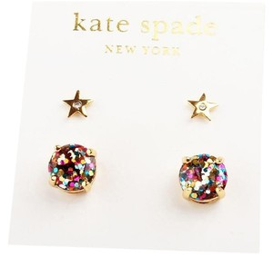 Kate Spade NEW Kate Spade Multi Color and Gold Star Studs 12 Earrings - 2 Pairs
