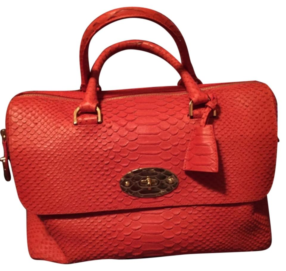 46be8bd57a Mulberry Del Rey Silky Snake Flame Red Embossed Leather Satchel ...