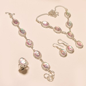 Silver/Pink Opal Plated 4 Piece Free Shipping Jewelry Set