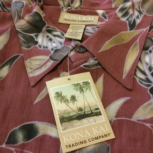 Kona Kai Trading Company Button Down Shirt Burgundy/floral