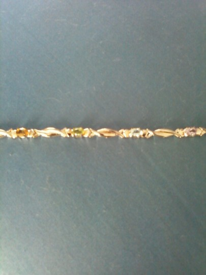 Other Sterling Silver Scarab Bracelet with Multi-Colored Gemstones
