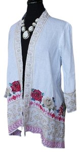 Johnny Was Linen Embroidered Boho Trapeze Hem Geometric Cardigan