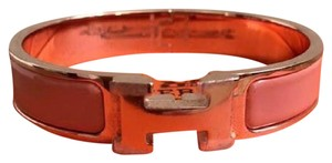 Hermès Authentic Hermes H Bracelet/Bangle salmon pink & Rose gold
