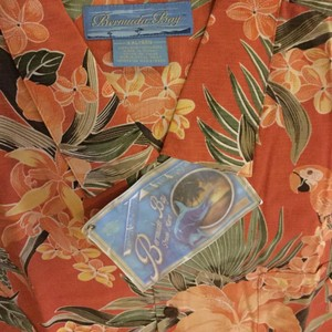 Bermuda Bay Button Down Shirt Salmon with parrots and foliage