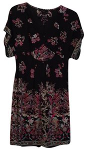 Alberto Makali short dress Black background with pink floral print on front and back on Tradesy