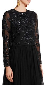 Needle & Thread Crop Embellished Night Out Date Night Long Sleeve Top Black