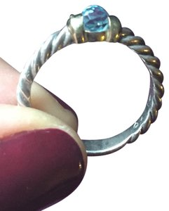 David Yurman David Yurman Capri Setting Silver/Gold/Topaz Stacking Ring Size 7
