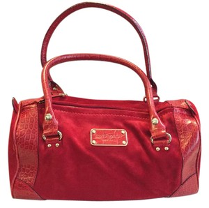 Kate Spade Structured Gold Hardware Leather Suede Tote in Red
