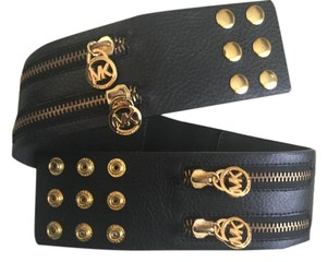 Michael Kors Leather Stretch Zipper Belt