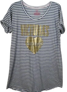 Victoria's Secret Pink Large T Shirt Gray/White/Gold
