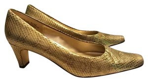 Bellini Cuban Heel Snakeskin Style Square Gold Multi-Color Pumps