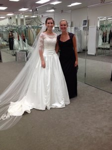 Oleg Cassini Strapless Satin Ball Gown With Lace Popover Top. Style 1401-0358 Wedding Dress