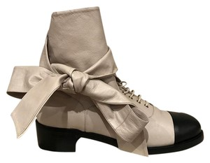 Chanel Bow Leather Lace Combat Boot beige Boots