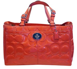 Coach Embossed Patent Leather Tote in Coral