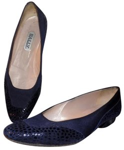 Bally Leather Bohemian Classic Signature Luxury Blue Flats