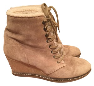 J.Crew Fur Lace Up Winter Boots Tan Wedges