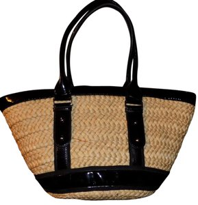 Kate Landry Bohemian Classic Bold Structured Woven Tote in Tan & Black