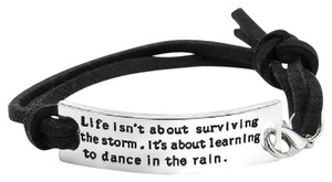 Other Dance In The Rain Black Suede Silver Inspirational Bracelet