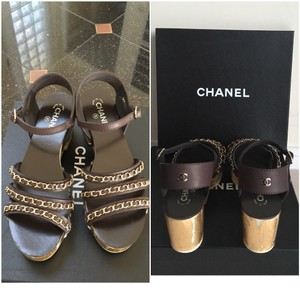 Chanel Chain Platform Sandals Wedge Platforms