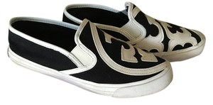Tory Burch Canvas Leather Rubber Sole Black and White/Ivory Flats
