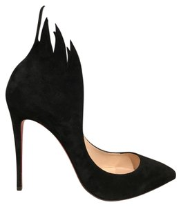 Christian Louboutin Victorina Stiletto Suede Flame Leather black Pumps