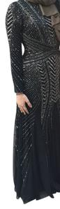 Adrianna Papell Beaded Longsleeve Evening Formal Dress