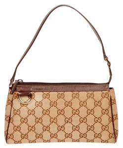 Gucci Canvas Monogram Pochette Gg Satchel in Beige & Khaki/Tan