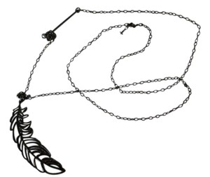 Other Black chain necklace with feather accent