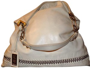 Badgley Mischka Bohemian Leather Pebbled Chain Signature Tote in Cream