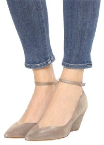 Belle by Sigerson Morrison Beige Glitter Taupe Wedges