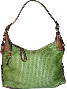 Fossil Bohemian Signature Woven Classic Retro Satchel in Green
