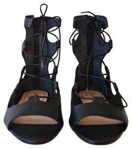 Loeffler Randall Leather Gladiator Laces Zipper Black Sandals
