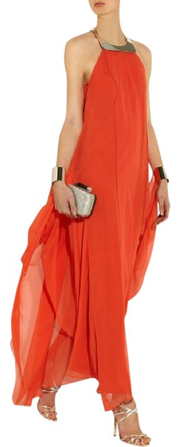 Item - Orange Red | Yakira Lily Metal and Silk-crepe Net-a Long Formal Dress Size 8 (M)