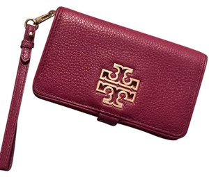 Tory Burch Leather Wallet Gold Detachable Wristlet in Burgundy