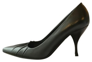 Prada Pleated Accent On Top Black Pumps
