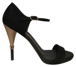 Chanel Stiletto Cone Silver Suede Calfskin black Pumps
