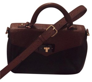 Kate Spade Satchel in Black leather and chocolate Patrick embossed leather