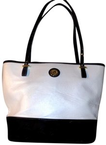 Anne Klein Signature Classic Bold Gold Hardware Luxury Tote in Black & White
