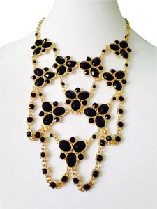 Amrita Singh Faceted Black Bib Statement Necklace