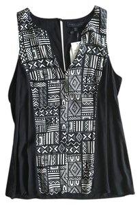 Sanctuary Clothing Tribal Cut Out Graphic Tank Boho Business Casual Top Black and White