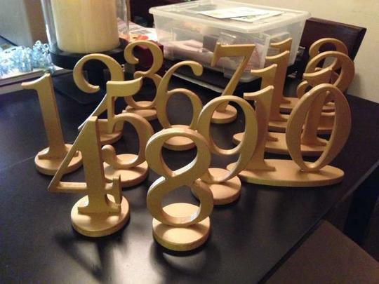 Gold 13 Painted Table Numbers Reception Decoration