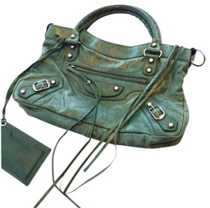 Balenciaga Satchel in Distressed Green