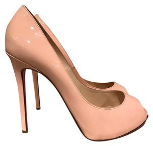 Christian Louboutin Flo Stiletto Patent Open Toe Leather Baby Pink Pumps