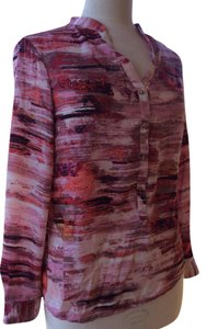 Daisy Fuentes Top Red, Pink, White, Brown